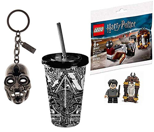 LEGO Mini HP Figure Micro Harry Potter Set Character Journey to Hogwarts Bundled with Wizard Collectibles Death Mask Keychain & Deathly Hollow Cup & Straw 3 Items