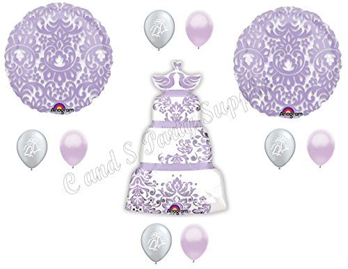 WEDDING CAKE Bridal Shower Balloons Decoration Supplies Engagement lavender]()