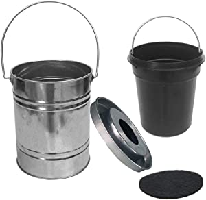 MODUODUO Compost Bin Stainless Steel Kitchen Countertop 1.3 Gallon Trash Bucket for Food Scraps Waste Pail with Inner Composter