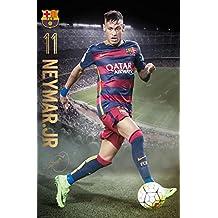 "FC Barcelona - Sports / Soccer Poster / Print (Neymar Da Silva Santos Jr. In Action) (Size: 24"" x 36"")"