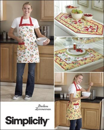 Pattern Aprons Misses (Simplicity 2691 Sew Pattern MISSES' REVERSIBLE APRON / TABLE RUNNER / PLACE MATS)