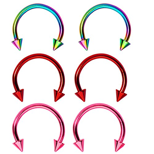 Spike Horseshoe Circular Barbell (6 Pieces of 16 Gauge Electro Spike Horseshoe Circular Barbell - 3 Pairs)