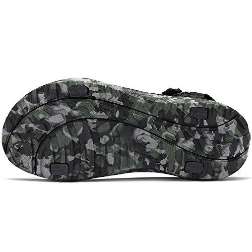 VILOCY Men's Backpack Sandals Camo Lightweight Adjustable Strap Open Toe Walking Shoes Camo Green q8g7QKHz