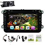 Android 4.4 Car Stereo for 8 inch VW with GPS Navigation Support DVD/Radio/USB/SD/Bluetooth/Steering Wheel/Wifi Hotspots/3G/OBD2/DVR/AV-IN/1080P/External Mic/Map/4-core CPU/16GB Memory Car DVD Player Radio