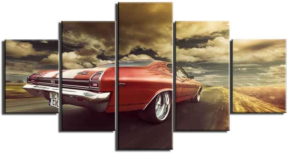 Dionysios Print Framed Canvas Chevrolet Chevelle Vintage Classic Car 5 Pieces Wall Art Decor Ready to Hang on The Wall Unframed - Size 1
