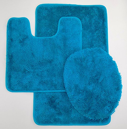 naturally home Royal Plush Collection 3-Piece Bathroom Rug Set, Bath Mat, Contour and Toilet Cover (Standard Round Size Toilet) - Teal ()