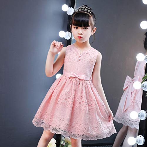 HJPRT girls dress summer 2018 special children girls vest skirt girl sleeveless lace princess dress summer (shrimp send hair ()