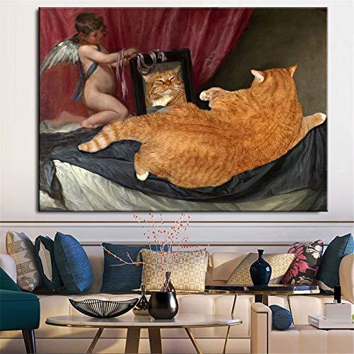 QAZEDC (Con Marco Cuadro Famoso con Aspecto de Gato Gordo en la Pared del Espejo, poster artistico de Angelito e Imagen Impresa para la decoracion del hogar de la Sala de estar-40x60cm