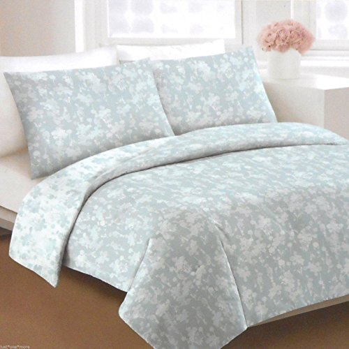 DKNY Silhouette Floral 3 piece Full/queen Duvet Cover Set Light/Rustic Blue