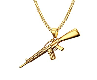 Vnox mens 18k gold plated stainless steel submachine gun pendant vnox mens 18k gold plated stainless steel submachine gun pendant necklace punk gothic cool jewelry mozeypictures Images