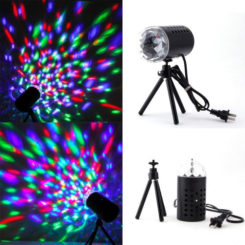 TOOGOO(R) 3W Colorful LED Crystal Rotating RGB Stage Light Lamp DJ Disco Voice-activated
