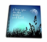 3dRose db_220301_3 Beautiful Blue Night Scene- I Love You to the Moon and Back Mini Notepad, 4 by 4''
