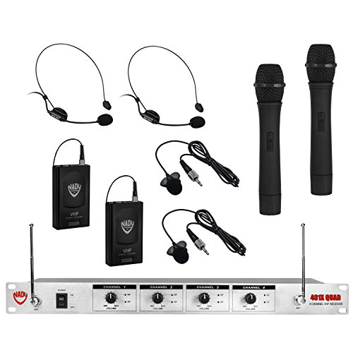 Quad Band Headset - Nady 401X QUAD Wireless 4-Channel Handheld + Headset + Lapel / Lavalier Microphone System – 6 Microphones Bundle