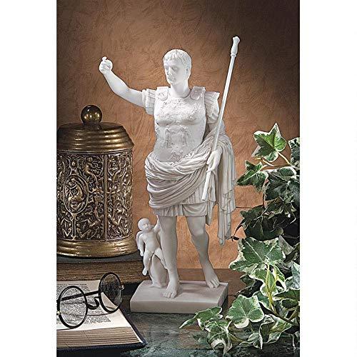 White Design Toscano Caesar Augustus of Prima Porta Roman Replica Statue Bonded Marble Polyresin 29 cm