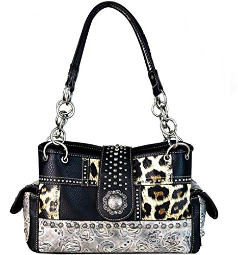 (Montana West Concealed Carry, Floral Tooled Leopard Print Tote - Black)