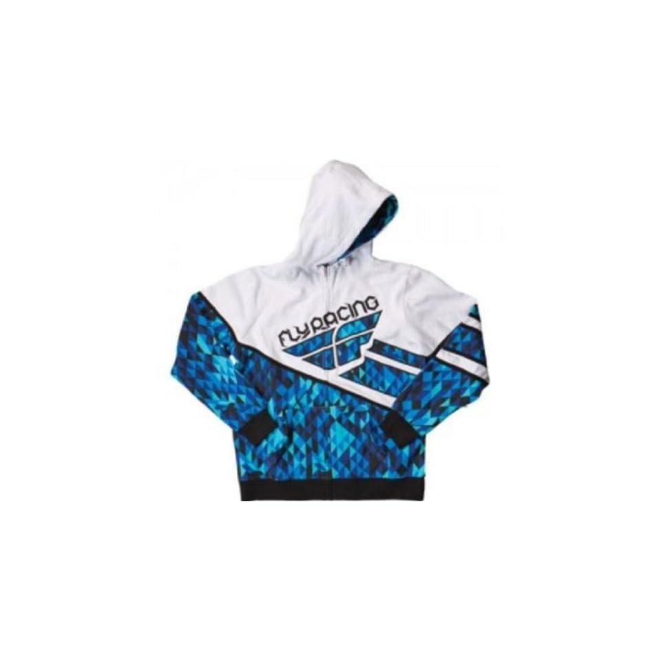 Fly Racing Fly Racing Kinetic Hooded Sweatshirt / Jacket. Hoodie. Midweight Fleece. Embroider. Kangaroo Pockets. (Blue/White) 354 0081 Automotive