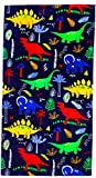 Beach Towel for Kids, 100% Cotton Soft Blanket Throw, 24' X 48' Dinosaur Terry Towel for Travel, Beach, Swimming, Bath, Camping, and Picnic