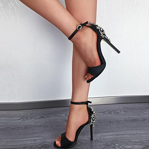 ... Upxiang Frauen Luxus Diamant Kristall High Heel Knoechelriemchen Dünne  Fersen Super High Spitzschuh Mode Sandalen Party ...