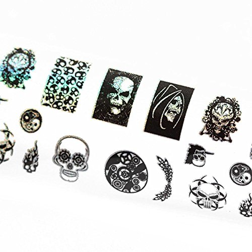 WFENGT 1PC And Creative Art Hip Hop Punk Halloween Skull Pigmentation Nails Stickers Nail Polish