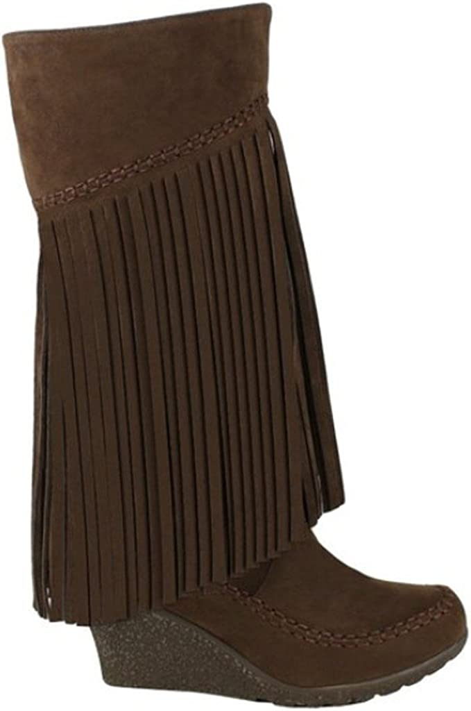 Mark and Maddux Bernice-02 Womens Fringe Moccasin Wedge Mid-Calf Suede Boots