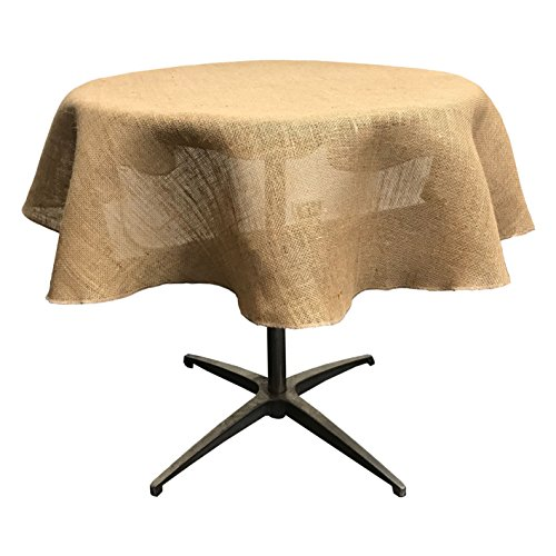 LA Linen TCBurlap58R Natural Burlap Tablecloth 56/58-Inch Round ()