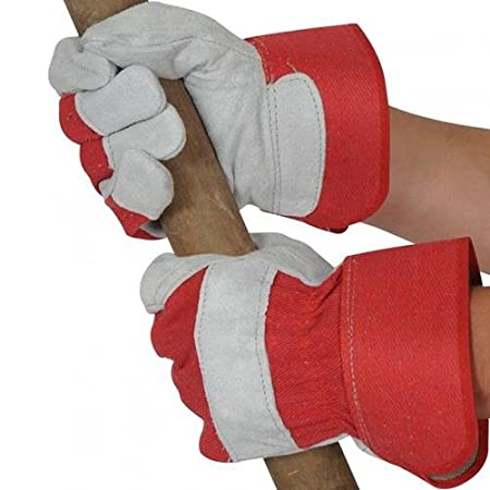 canadian leather rigger work gloves heavy duty safety gauntlets red grey A+