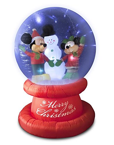 disney mickey minnie snowman globe lightshow 6 ft christmas inflatable - Disney Christmas Inflatables