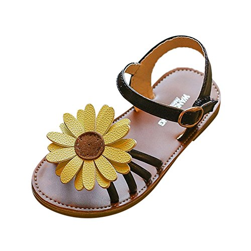 (Tantisy ♣↭♣ Roman Sandals for Girls  Baby Kids Sunflower Sandals Little Princess Shoes Outdoor Walking Shoes Black)