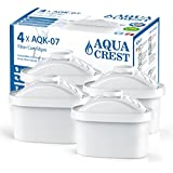 AQUACREST Pitcher Water Filter, Compatible with Brita Mavea Maxtra 105731, 1001122 (Package May Vary) (Pack of 4)