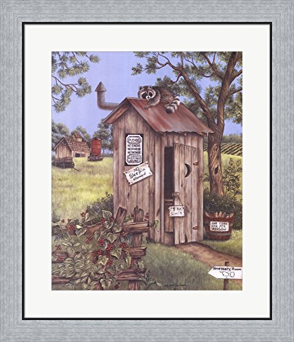 Outhouse - Raccoon by Kay Lamb Shannon Framed Art Print Wall Picture, Flat Silver Frame, 24 x 28 inches (Kay Lamb)
