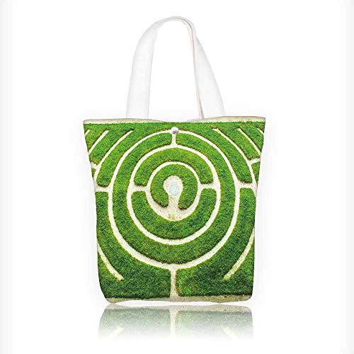 (canvas tote bag Chartres Circular labyrinth in a garden reusable canvas bag bulk for grocery,shopping W16.5xH14xD7 INCH)