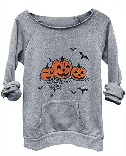 (Halloween Pumpkin Face Bat Pocket Sweatshirt Women Spider Printed Pullover Top (XX-Large,)