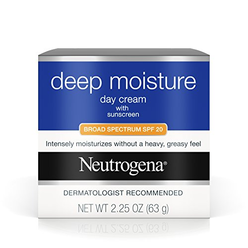 Neutrogena Deep Moisture Face Cream with SPF 20 Sunscreen, Glycerin, Shea Butter & Vitamin D3, Face moisturizer for dry skin - SPF moisturizer, Glycerin, Shea Butter, Vitamin D3, 2.25 oz (Pack of 3) ()