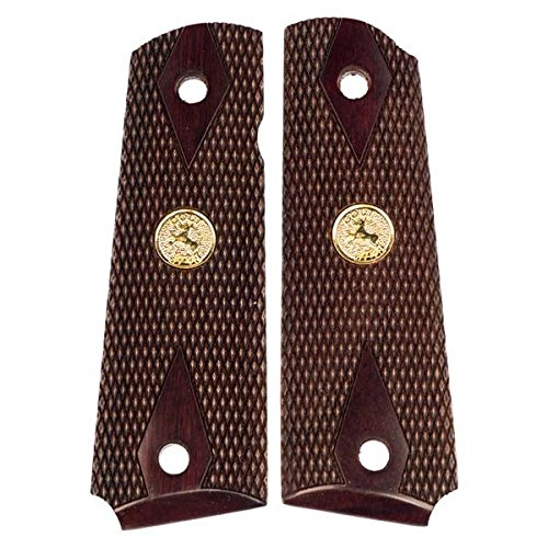 1911 Colt Grips - Dark Rosewood - Gold Medallions