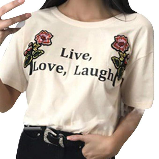 f0a5ec1432c Top de Mujer, BBestseller Color sólido Cuello Redondo Imprimiendo Camisetas  Personalizadas Blusas para Mujer Verano: Amazon.es: Ropa y accesorios