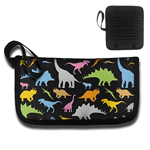 RobotDayUpUP Colorful Dinosaur Clipart Pattern Credit Card Case Holder Wallet Durable Name Card Case Passport Package Travel Business Work Documents Storage Driver License ()