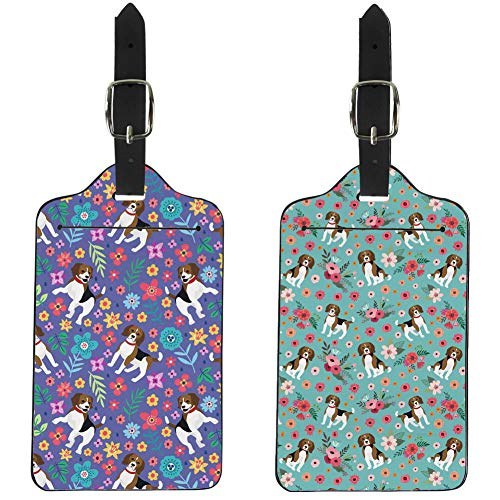 Upetstory 2 Pieces Luggage Tags Travel Bag Label Suitcase Accessories for Women Girls - Flower & Beagle Printed
