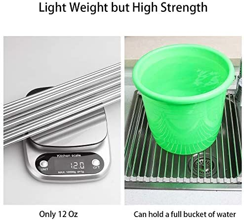 17.7″ x 11.5″ Long Dish Drying Rack, Attom Tech Home Roll Up Dish Racks Multipurpose Foldable Stainless Steel Over Sink Kitchen Drainer Rack for Cups Fruits Vegetables 51lvNdGYPsL