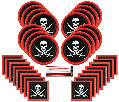 Pirate Skull and Crossbones Party Supplies Bundle Pack for 16 (Plus Party Planning Checklist by Mikes Super Store) -