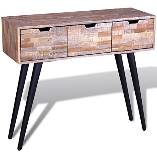 Festnight Console Table with 3 Storage Drawers TV Cabinet Sideboard Coffee Side Table Reclaimed Teak Wood Nightstand for Living Room Home Office Furniture - Table Wood Console Teak