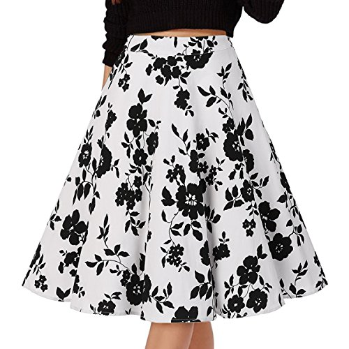 Musever Women's Pleated Vintage Skirts Floral Print Casual Midi Skirt Floral-3 XXL ()