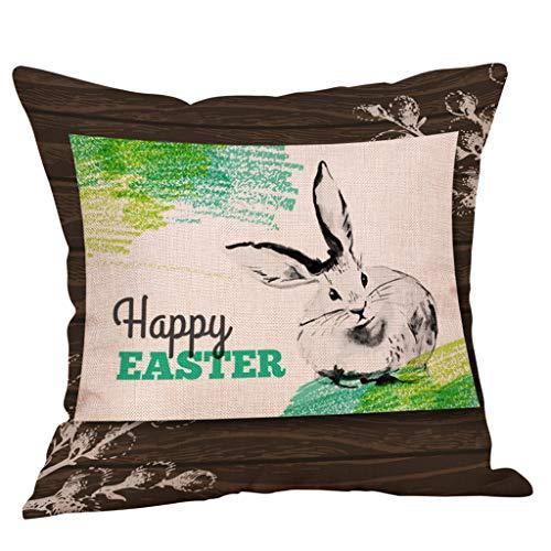 Happy Easter Bunny Pillow Cover Linen Sofa Cushion Cover Home Decor Pillow -