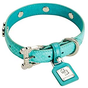Chrome Bones Eternity Diamonds Pet Collar, X-Small, Turquoise