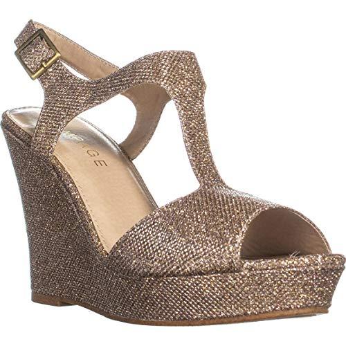 (Rampage Women's Candelas Dress Platform Wedge Sandals 11 Blush Glitter Mesh)