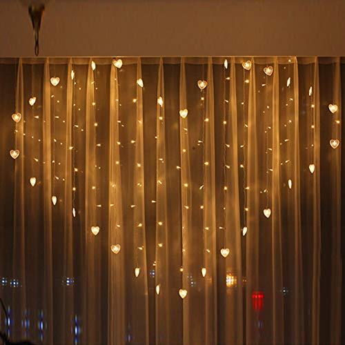 Tuscom 2M x 1.5M 124 Lights Love LED Lights   Lover Heart Curtain Lights Wedding Room Decoration White Ice Curtain Lamp Light String Airy Outdoor Xmas Garden Decor Lamp (Yellow) by Tuscom@ (Image #5)