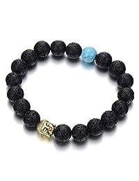 Mens Women Beads Bracelet Gold Color Buddha, Tibetan Buddhist Prayer Mala, Black Volcanic Lava Stone