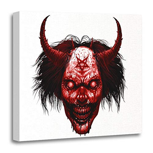 Semtomn Canvas Wall Art Print Hell Evil Smiling Clown Makeup Long Hair and Satanic Artwork for Home Decor 16 x 16 Inches]()