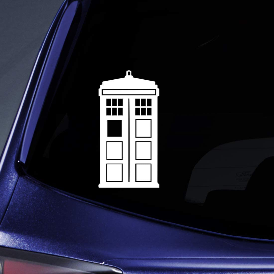 "Bargain Max Decals - DW Tardis Whovian - Sticker Decal Notebook Car Laptop 5"" (White)"