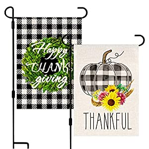 Kidtion 2 Packs Thanksgiving Garden Flag, Vertical Double Sized Burlap garden Flags Watercolor Plaid Pumpkin Thankful…