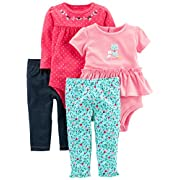 Simple Joys by Carter's Baby Girls' 4-Piece Bodysuit and Pant Set, Blue Floral/Pink Dot, 6-9 Months